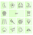 14 sky icons vector image vector image