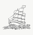 a ship sailing on the sea on a white back vector image