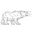 cartoon drawing of roaring bear as falling market vector image