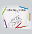 children scorpion coloring worksheet vector image vector image