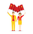 china flag waving man and woman vector image vector image