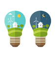 concept of lamp with icons of ecology environment vector image vector image
