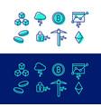 crypto blockchain icon set cryptocurrency bitcoin vector image vector image