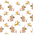 cute seamless pattern with funny cute rabbits and vector image vector image