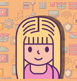 cute young girl and social media icons background vector image vector image