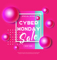 cyber monday concept banner in modern neon style vector image vector image