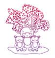 degraded outline adorable hippopotamus family vector image