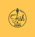 fish and chips logo round linear logo fish vector image vector image