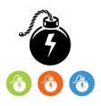Flat bombs with lit fuse icons vector image vector image