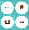 flat icon technology set of resistor coil copper vector image vector image