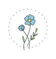 flax flower logo for spa and beauty salon vector image vector image