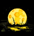 full moon in night swamp mystical background vector image