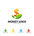 green money logo design concept coin with leaf vector image