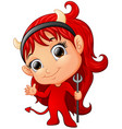 happy girl evil cartoon waving hand vector image