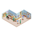 hospital lobby isometric composition vector image vector image