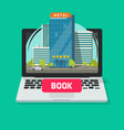 hotel booking online using computer vector image