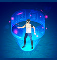 isometric man in vr future world virtual goggles vector image vector image