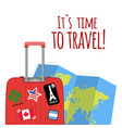 its time to travel baggage map background i vector image vector image