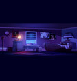 kids bedroom interior in pirate thematic at night vector image vector image