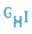 letters g h i decorated with snowflakes isolated vector image vector image