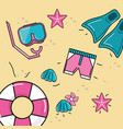 nice dive tools with float and shells with vector image vector image