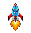 pixel space rocket detailed isolated vector image vector image