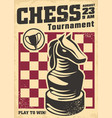 promo poster design for chess tournament vector image vector image