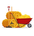 red flat gardening wheelbarrow with bale of hay vector image vector image