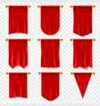 red pennant 3d realistic textile flag heraldic vector image vector image