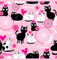 seamless holiday pattern with cats in love vector image vector image