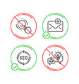 seo smile and new mail icons set idea sign vector image vector image