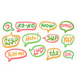 Set different shape colorful speech bubbles