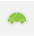 simple green icon - cute rounded car vector image