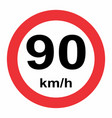 speed limit traffic sign 90 vector image vector image
