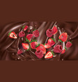 strawberries and raspberries are added to liquid vector image vector image