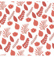 tree leaves and flowers seamless pattern flora vector image vector image