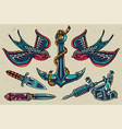 vintage colorful flash tattoos collection vector image vector image