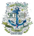 watercolor vintage label with an anchor vector image