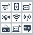 wifi icons set pc smartphone tablet pc pointer vector image vector image
