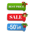 winter sale banner with christmas toys white vector image vector image