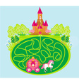 Funny maze game - princess waits in a castle vector image