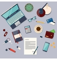 Top view of desk background with laptop digital vector image