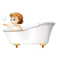A teenager taking a bath at the bathtub vector image