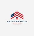 american house logo united states flag design
