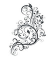black floral branch decorative filigree design vector image vector image