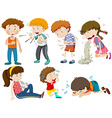 Boys and girls being sick vector image vector image