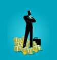businessman standing with a lot of money vector image vector image