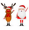 cartoon funny santa claus and reindeer waving vector image vector image