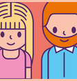 cartoon man and woman young characters vector image vector image