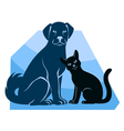 cat and dog sitting silhouettes vector image vector image